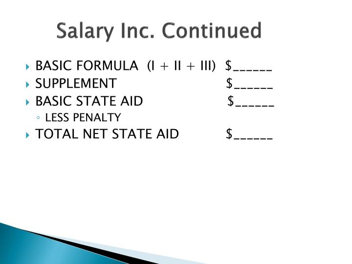 Salary Inc. Continued