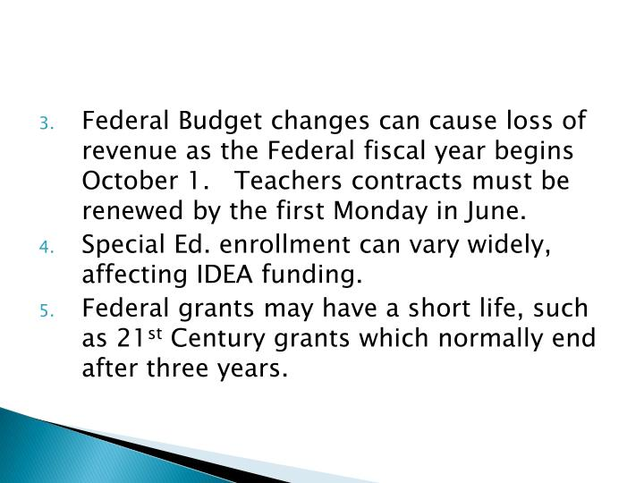 Federal Budget changes can cause loss of revenue as the Federal fiscal year begins October 1.   Teachers contracts must be renewed by