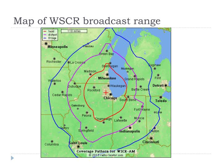 Map of WSCR broadcast range