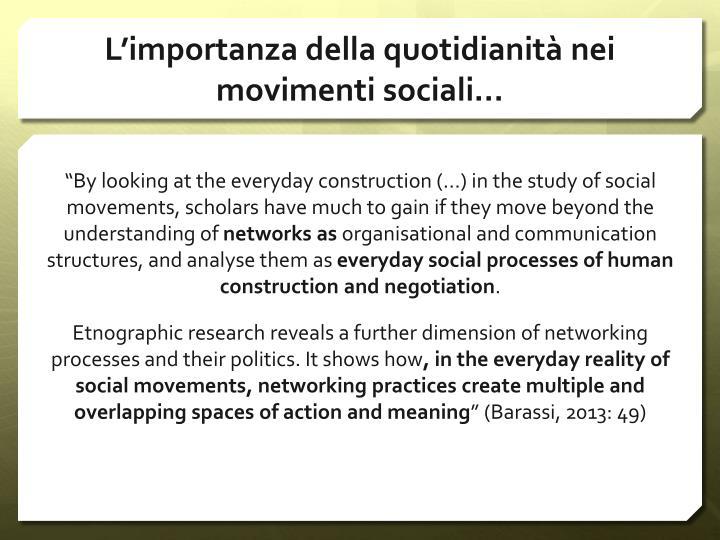 L'importanza della quotidianità nei movimenti sociali…