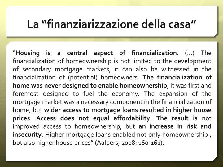 """La """"finanziarizzazione della casa"""""""