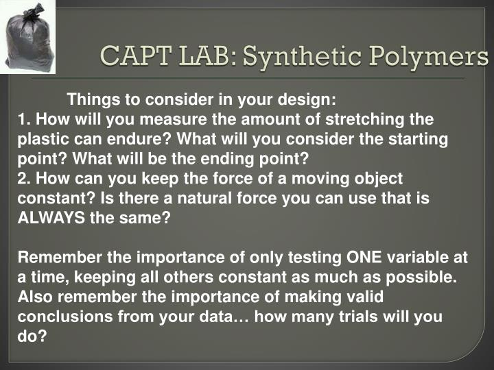 CAPT LAB: Synthetic Polymers