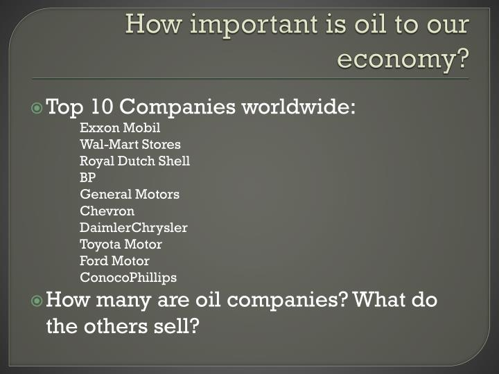 How important is oil to our economy?