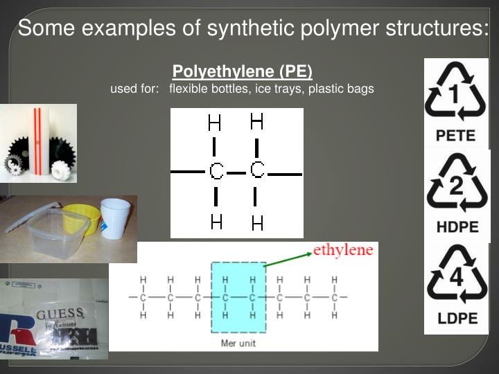 Some examples of synthetic polymer structures: