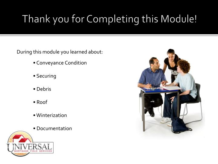 Thank you for Completing this Module!