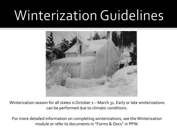 Winterization Guidelines