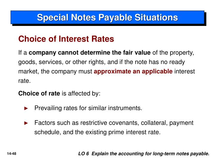 Special Notes Payable Situations