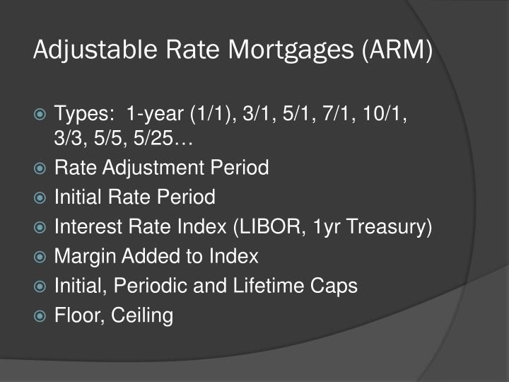 Adjustable Rate Mortgages (ARM)