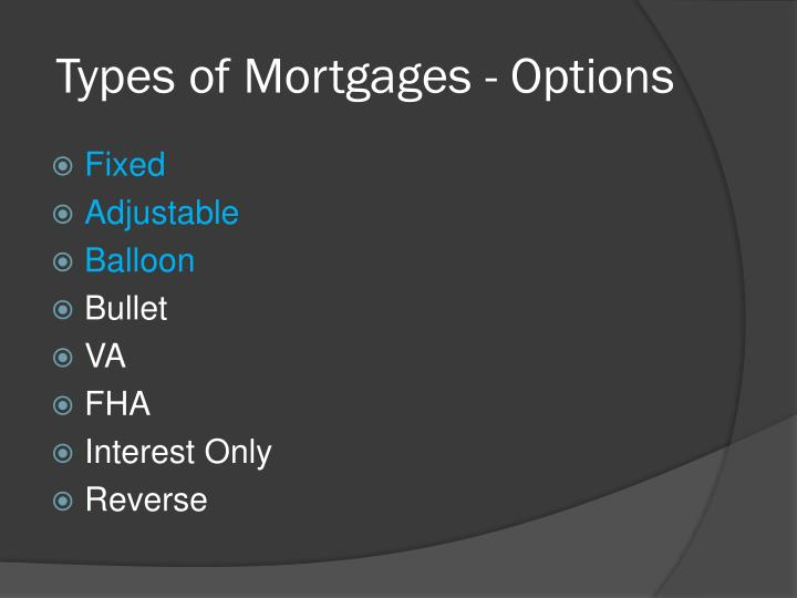 Types of Mortgages - Options
