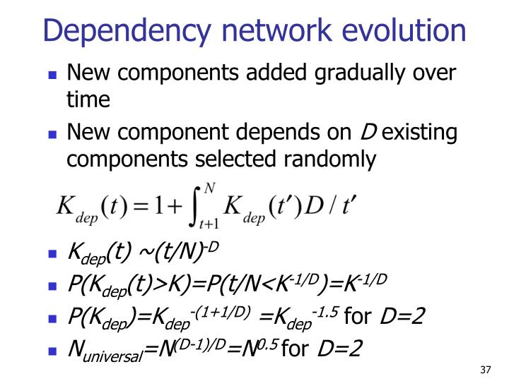 Dependency network evolution