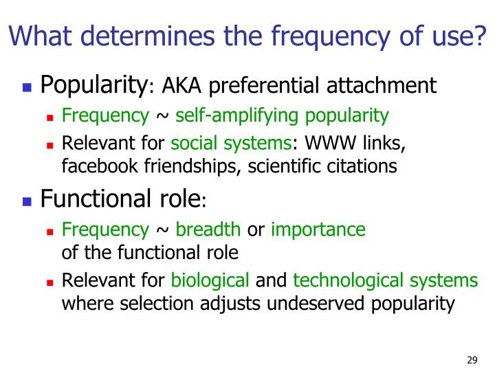 What determines the frequency of use?