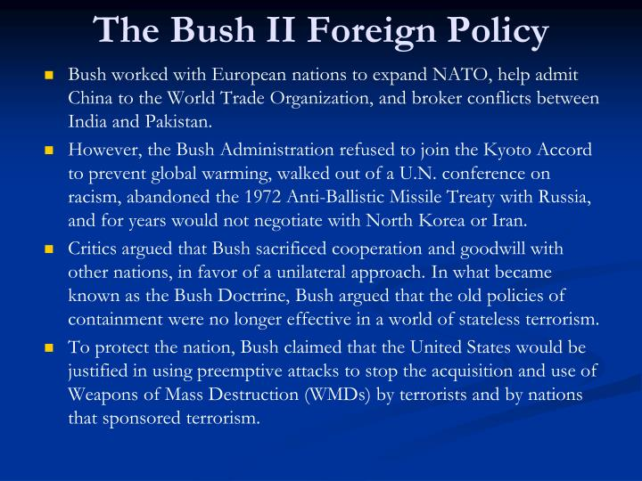 An analysis of the bushs foreign policy