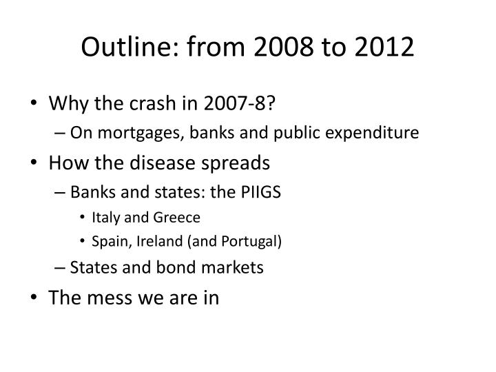Outline: from 2008 to 2012