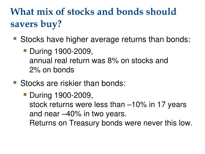 What mix of stocks and bonds should savers buy?