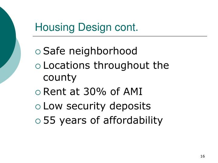 Housing Design cont.