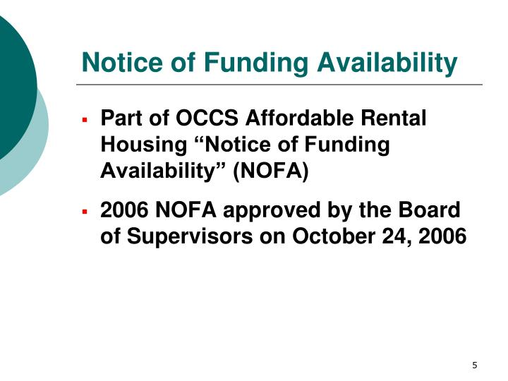 Notice of Funding Availability