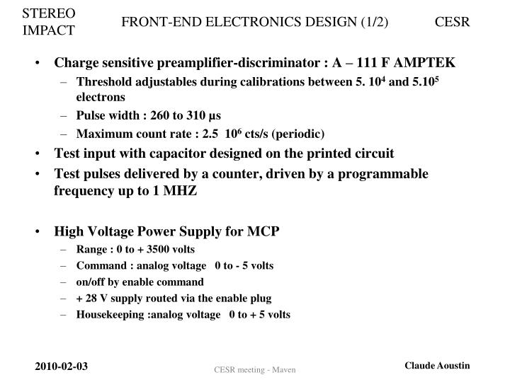 FRONT-END ELECTRONICS DESIGN (1/2)