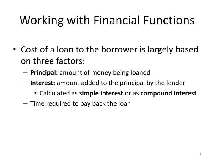 Working with financial functions