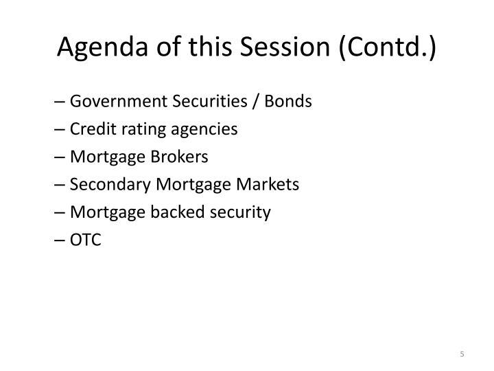 Agenda of this Session (Contd.)