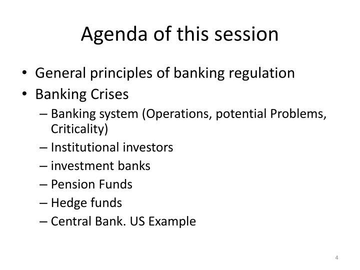 Agenda of this session