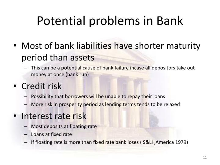 Potential problems in Bank