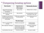 comparing housing options