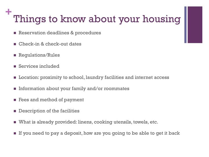 Things to know about your housing