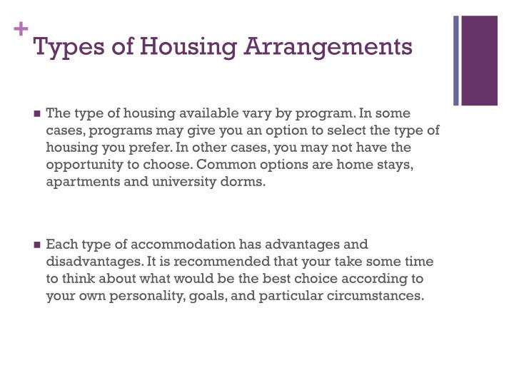 Types of Housing Arrangements