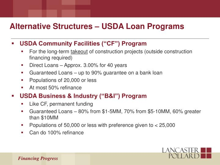 Alternative Structures – USDA Loan Programs