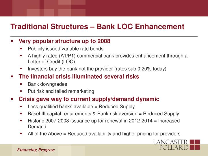 Traditional Structures – Bank LOC Enhancement