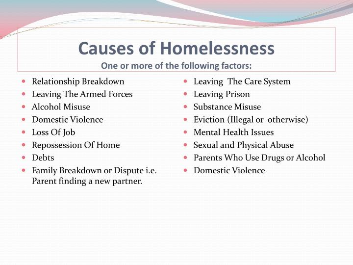 Causes of homelessness one or more of the following factors