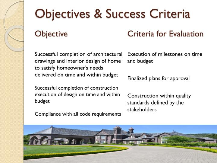 Objectives & Success Criteria