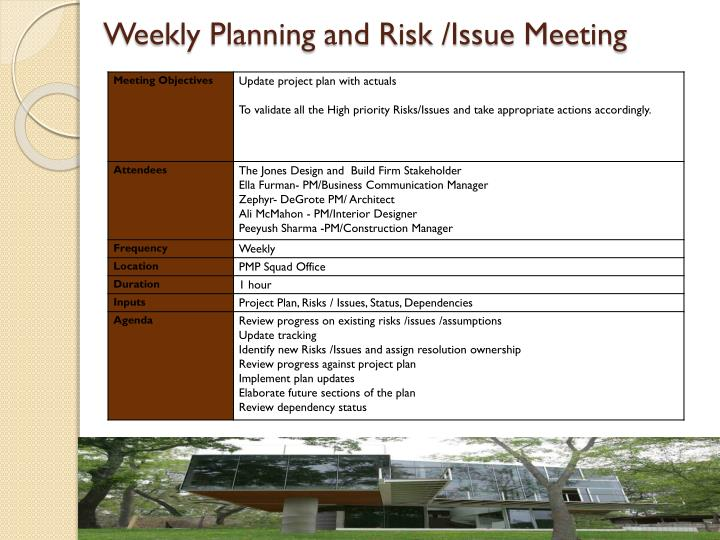 Weekly Planning and Risk /Issue Meeting