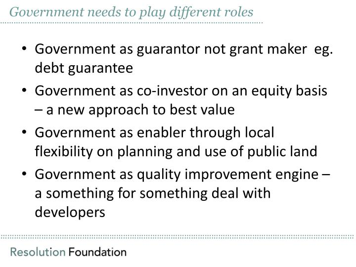 Government needs to play different roles