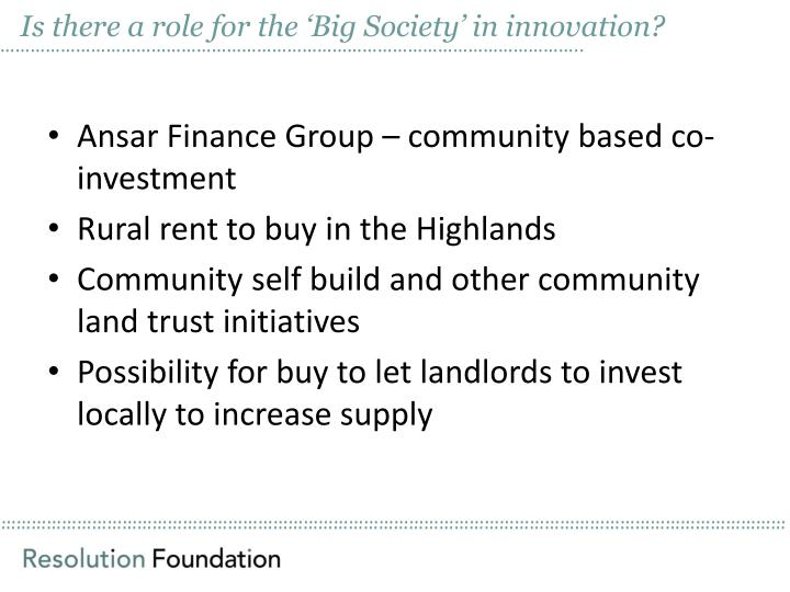 Is there a role for the Big Society in innovation?