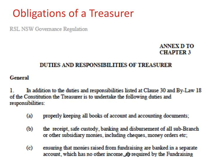 Obligations of a Treasurer