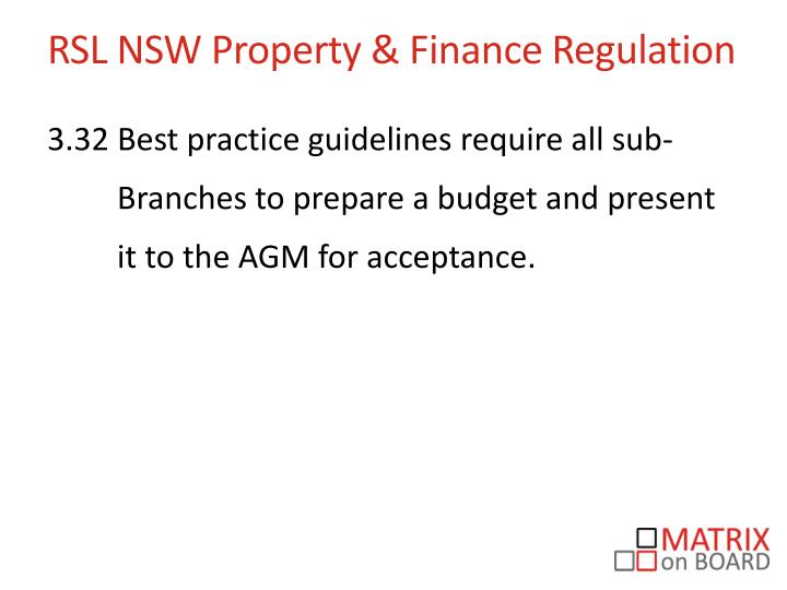 RSL NSW Property & Finance Regulation
