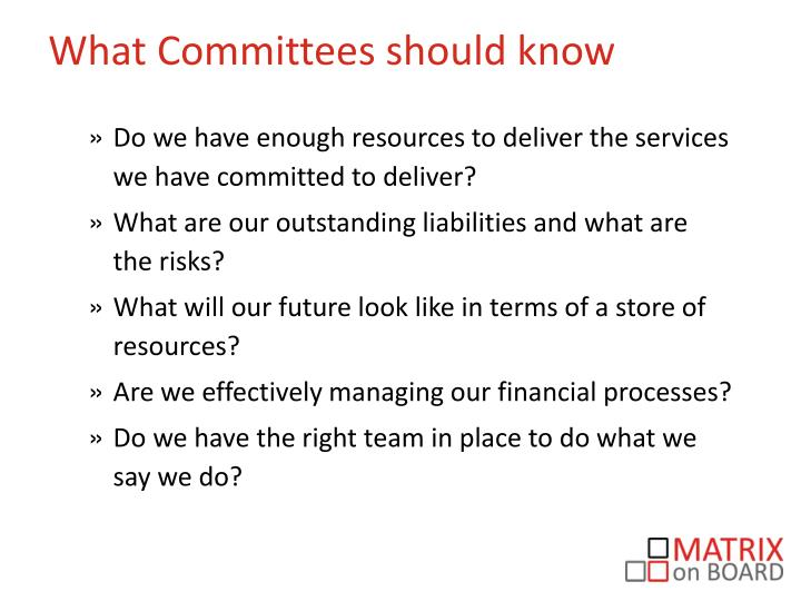 What Committees should know