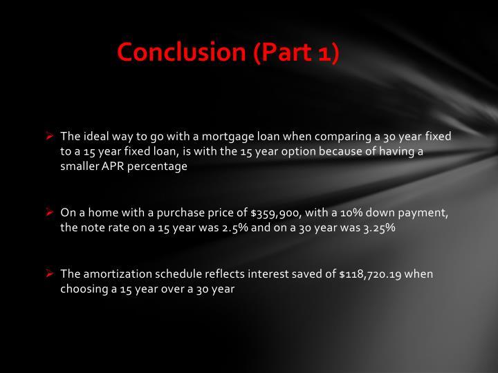 Conclusion (Part 1)