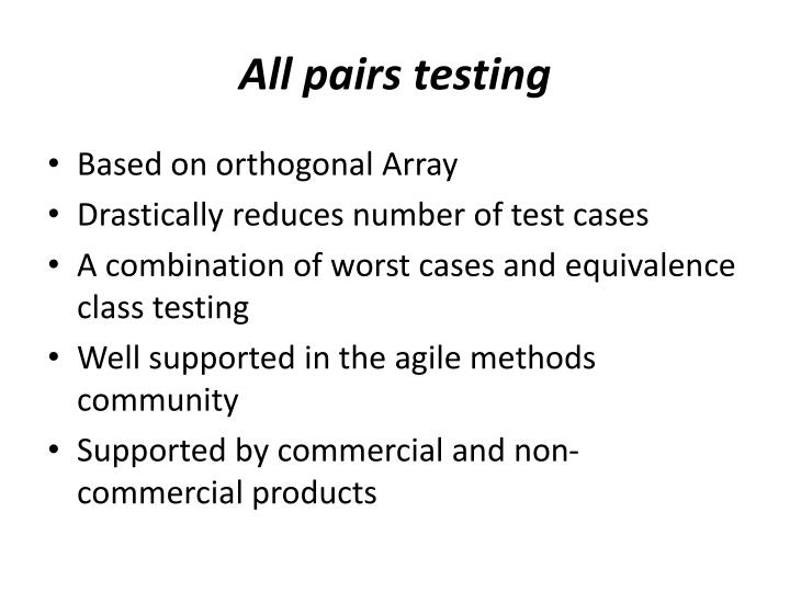 All pairs testing