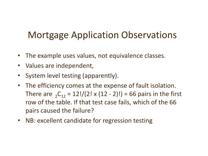 Mortgage Application Observations