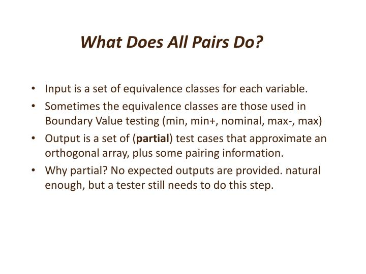 What Does All Pairs Do?