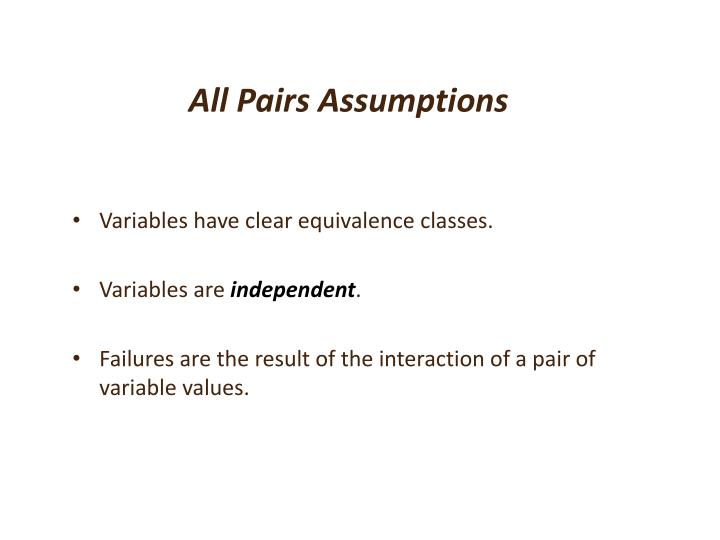 All Pairs Assumptions
