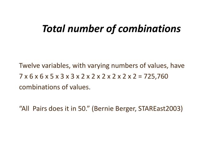 Total number of combinations