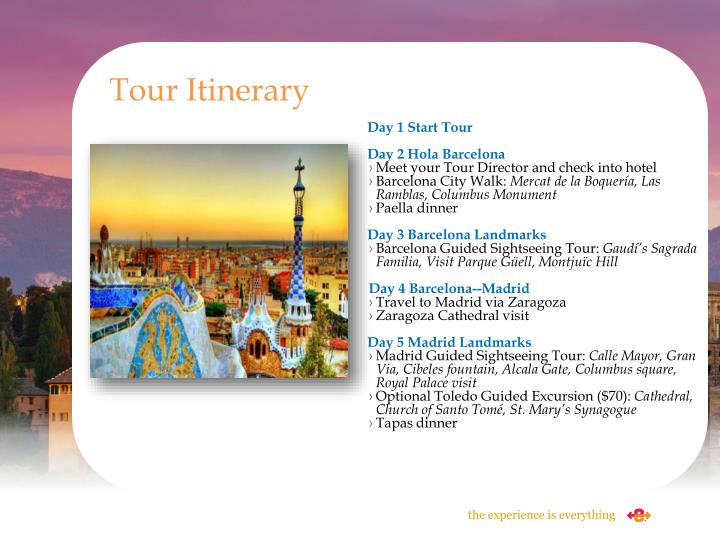 Tour Itinerary