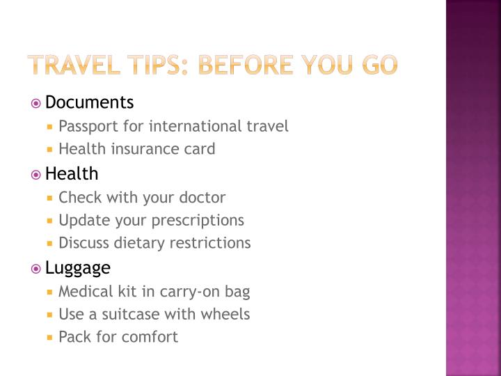 Travel tips: Before you go