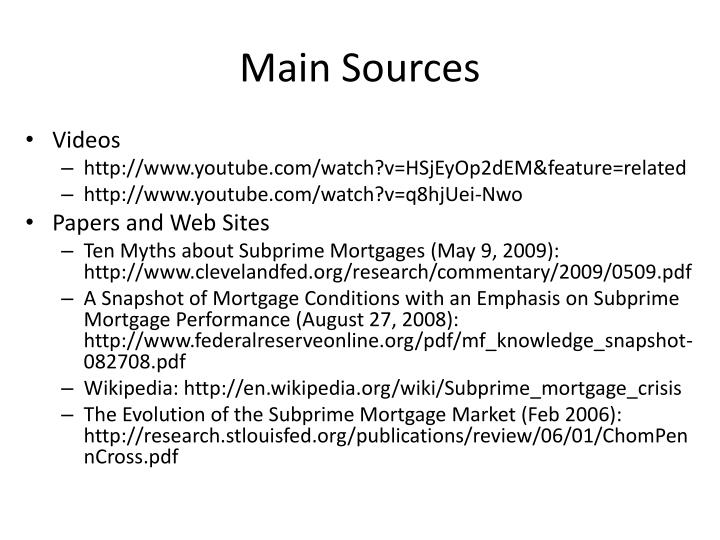 Main Sources