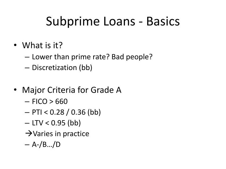Subprime Loans - Basics