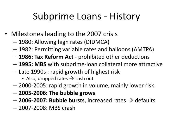 Subprime Loans - History