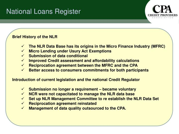 National loans register